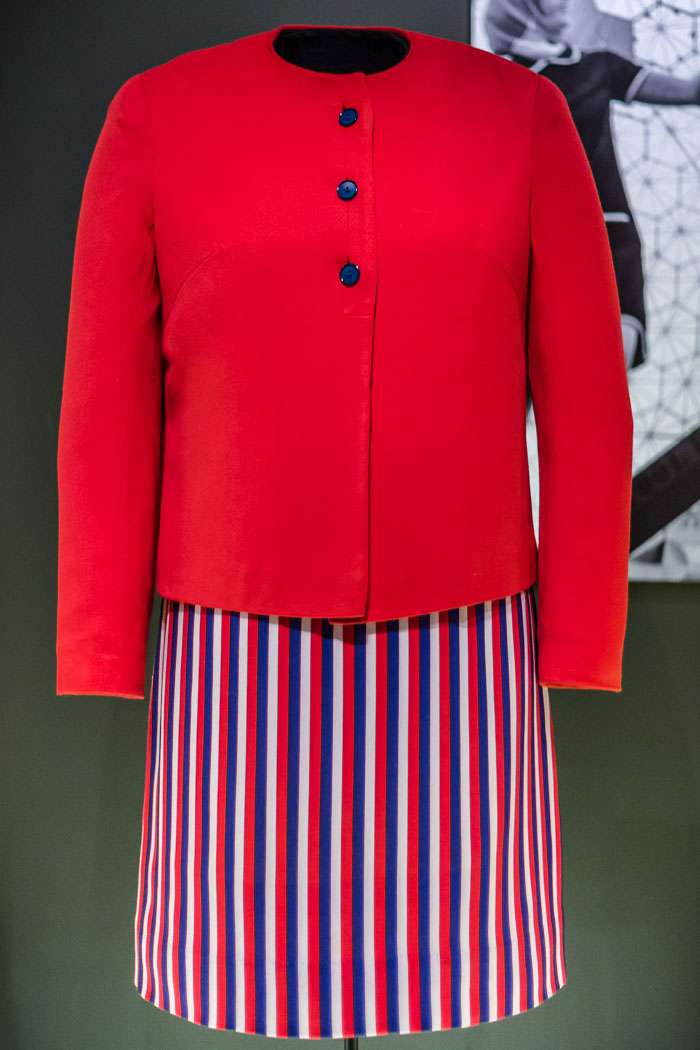 Photo of outfit from Fashioning Expo 67 exhibition at McCord Museum Montreal